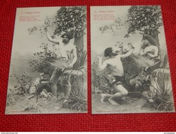 "LOT DE 5 CARTES : "" ADAM Et EVE  "" -  BERGERET Illustrateur - Bergeret"