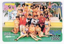 JAPON CARTE QUO PREPAYE BIKINI PIN-UP TV TOKYO - Autres