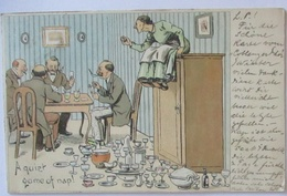 Scherzkarte Männer Beim Kartenspiel, Porzellan, A Quiet Game Of Nap 1899 (71179) - Humor