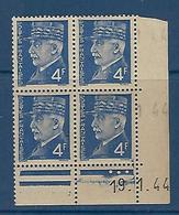 """FR Coins Datés YT 521A """" Pétain 4F Bleu """" Neuf** Du 19.1.44 - 1940-1949"""
