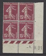 CD 189 FRANCE 1931 COIN DATE 189 : 04 / 9 / 31 SEMEUSE A FOND PLEIN - Dated Corners