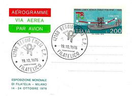 ITALIA - 1976 Aerogramma PRIMA LINEA AEREA CIVILE 1926 - EXPO MOND. FILATELIA Con Ann. Filatelico REGGIO EMILIA - Aerei