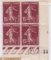 Semeuse 15 C. Brun 189 En Bloc De 4 Coin Daté - 1906-38 Semeuse Camée
