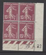 CD 189 FRANCE 1932 COIN DATE 189 : 28 / 4 / 32 SEMEUSE A FOND PLEIN - Dated Corners