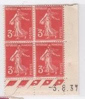 Semeuse 3 C. Orange 278 A En Bloc De 4 Coin Daté - 1906-38 Säerin, Untergrund Glatt