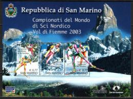SAN MARINO - 2003 - CAMPIONATI DEL MONDO DI SCI NORDICO IN VAL DI FIEMME - FOGLIETTO- SOUVENIR SHEET - MNH - San Marino