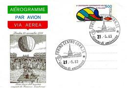 ITALIA - 1983 Aerogramma 2° CENT. ESPERIMENTO VOLO IN PALLONE Con Ann. Fdc Torino (MOLE ANTONELLIANA) - Mongolfiere