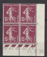 CD 189 FRANCE 1934 COIN DATE 189 : 24 / 10 / 34  SEMEUSE A FOND PLEIN - Coins Datés