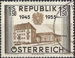 AUSTRIA 1955 Tenth Anniv Of Re-establishment Of Austrian Republic - 1s.50, Modern Houses FU - 1945-.... 2ème République