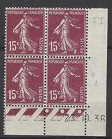 CD 189 FRANCE 1936 COIN DATE 189 : 23 / 10 / 36  SEMEUSE A FOND PLEIN - Dated Corners