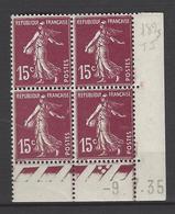 CD 189g FRANCE 1935 COIN DATE 189g : 9 / 7 / 35  SEMEUSE A FOND PLEIN  COULEUR CHOCOLAT - Coins Datés