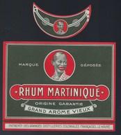 """Ancienne étiquette  Rhum Martinique  Grand Arôme Vieux Et Sa Collerette Distillerie Coloniales Le Havre """"visage Homme"""" - Rhum"""