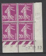 CD 190 FRANCE 1932 COIN DATE 190 : 7 / 12 / 32  SEMEUSE A FOND PLEIN - Dated Corners