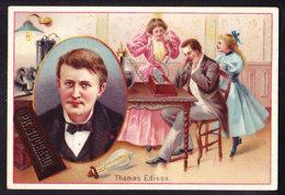 CHROMO Chocolat SUCHARD   +/- 1897  Serie 54 Inventeurs Thomas Edison Téléphone Trade Card  Inventors Phonographe - Suchard