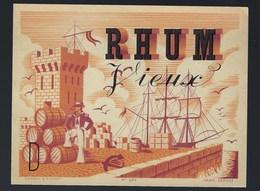 """Ancienne étiquette  Rhum Vieux """"tour, Bateau, Tonneaux, Marin"""" Imp Gensay & Pichot N°236 Paris - Rhum"""