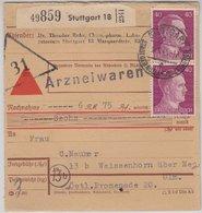 DR - 2x40 Pfg. AH, Nachnahme-Paketkarte V. Stuttgart 18 - Weissenhorn 9.3.45 - Germany