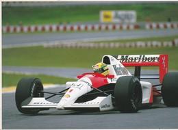 SPORT AUTOMOBILE.  CPM 13X18 . Ayrton SENNA  (Sur Auto : Pubs Malboro, Shell, Honda) - Postcards