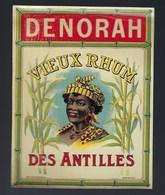 Ancienne étiquette  Rhum  Svieux Des Antilles Denorah Visage Femme étiquette Vernie  Imp Wettrewald Bordeaux - Rhum