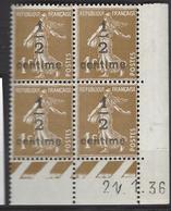 CD 279A FRANCE 1936 COIN DATE 279A : 21 / 1 / 36  SEMEUSE A FOND PLEIN - Dated Corners