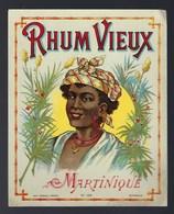 """Ancienne étiquette  Rhum  Vieux Martinique """"visage Femme Coiffe"""" Etiquette Vernie Imp Wetterwald Frères N°159 Bordeaux - Rhum"""