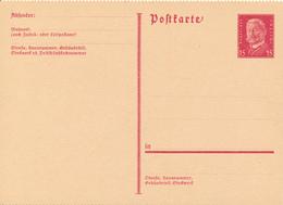 DR -  1931 , Hindenburg - Postkarte  Gezähnt - Deutschland