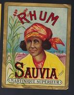 """Ancienne étiquette  Rhum  Martinique Supérieur Sauvia  Signée C Dumont """"visage Femme Coiffe"""" Imp Royot & Cie Nancy - Rhum"""