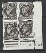 """FR Coins Datés Préo YT 91 """" Cérès 1F20 Brun-noir """" Neuf** Du 14.8.45 - Coins Datés"""