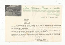 Lettre Commerciale ,1954 ,ALBERGO RISTORANTE MIRALAGO , CERNOBBIO ,  Italie , Lago Di Como, Frais Fr 1.55 E - Italie
