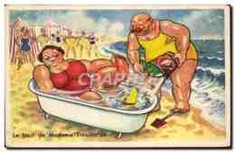Humour - Illustration - Le Bain De Madame - Beach - CPA - Humour
