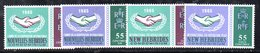 APR538 - NUOVE EBRIDI HEBRIDES 1965 , Yvert N. 223/226  ***  (2380A).  INGLESE E FRANCESE - Leggenda Francese