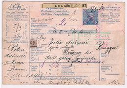 Bosnien-Herzegowina Paketkarte (mittig Gefaltet) 1912 Livno Nach St. Gallen; D4480 - Bosnie-Herzegovine