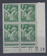 IRIS N° 432 - Bloc De 4 COIN DATE NEUF SANS CHARNIERE - 17/11/39 - 1930-1939