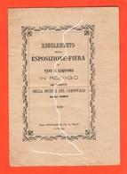 Rovigo Esposizione E Fiera Di Liquori E Vini Società Del Carnovale 1882 - Organizzazioni