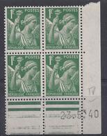 IRIS N° 432 - Bloc De 4 COIN DATE NEUF SANS CHARNIERE - 23/5/40 - 1930-1939