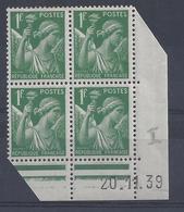IRIS N° 432 - Bloc De 4 COIN DATE NEUF SANS CHARNIERE - 20/11/39 - 1930-1939