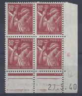 IRIS N° 431 - Bloc De 4 COIN DATE NEUF SANS CHARNIERE - 27/5/40 - 1930-1939