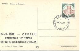 ITALIA - 1982 CEFALU' Ann. Ordinario CEFALU' - G Su Retro Cartolina Illustrata Sovrast.  65° Giro Ciclistico D'Italia - 6. 1946-.. Repubblica