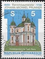 AUSTRIA 1989 250th Death Anniv Of Johann Michael Prunner (architect) - 5s Holy Trinity Church, Stadl-Paura FU - 1945-.... 2ème République