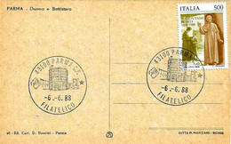 ITALIA - 1988 PARMA Ann. Filatelico (battistero) Su Cartolina Illustrata (duomo E Battistero) Sovrast. Per Visita Papa - Chiese E Cattedrali