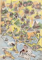 AK Morbihan, Bretagne, Map, Landkarte, Geografiekarte - Maps