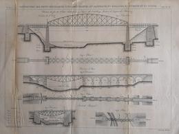 ANNALES DES PONTS Et CHAUSSEES (Allemagne) - Construction De Ponts Métalliques à Poutres - Graveur Macquet 1887 (CLF93) - Obras Públicas