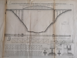 ANNALES DES PONTS Et CHAUSSEES (Allemagne) - Construction De Ponts Métalliques à Poutres - Graveur Macquet 1887 (CLF94) - Travaux Publics