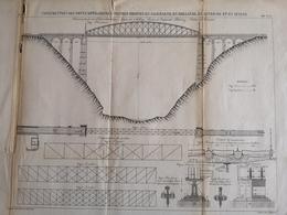 ANNALES DES PONTS Et CHAUSSEES (Allemagne) - Construction De Ponts Métalliques à Poutres - Graveur Macquet 1887 (CLF94) - Obras Públicas