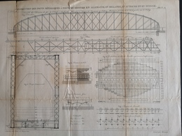 ANNALES DES PONTS Et CHAUSSEES (Allemagne) - Construction De Ponts Métalliques à Poutres - Graveur Macquet 1887 (CLF95) - Obras Públicas