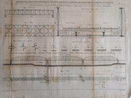 ANNALES DES PONTS Et CHAUSSEES (Allemagne) - Construction De Ponts Métalliques à Poutres - Graveur Macquet 1887 (CLF96) - Obras Públicas