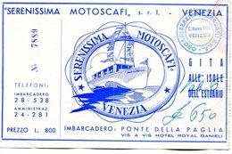 Tickets De Transports-Italie-Venise-Serenissima Motoscafi-excursions En Bateau - Billets D'embarquement De Bateau