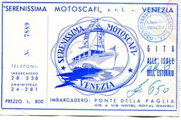 Tickets De Transports-Italie-Venise-Serenissima Motoscafi-excursions En Bateau - Europe