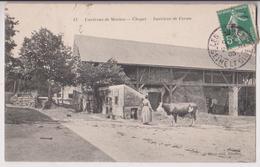 CHAPET (78) ENVIRONS DE MEULAN : INTERIEUR DE FERME - PAYSANNE & VACHE - GRANGE A FOIN - ECRITE EN 1908 - 2 SCANS - France