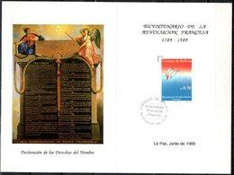Bolivia 1989 Tira De 3 CEFIBOL 1337T Tarjeta Bicentenario De La Revolución Francesa. Aves Estilizadas En Vuelo. - Bolivia