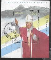 POLONIA - VISITA DI PAPA GIOVANNI PAOLO II A VARSAVIA 1997 -  FOGLIETTO USATO (YVERT BF 140 - MICHEL BL 130) - Cristianesimo